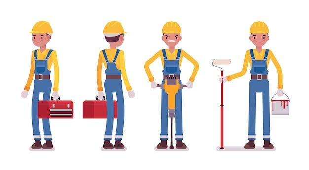 Conjunto de trabalhador masculino com ferramentas, vista traseira e frontal