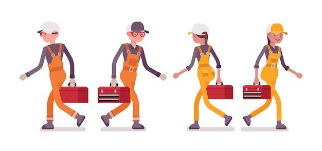 Conjunto de trabalhador masculino e feminino andando, vestindo macacão brilhante