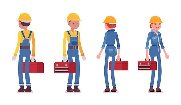 Conjunto de trabalhador masculino e feminino em pé, vista traseira e frontal