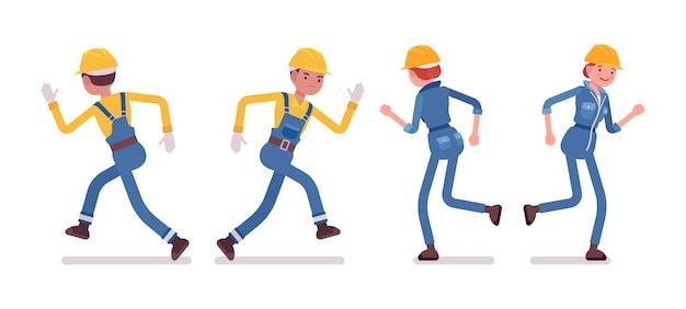 Conjunto de trabalhador masculino e feminino, executando, vista traseira, frontal