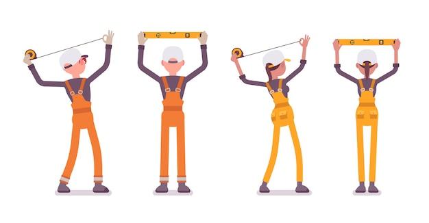 Conjunto de trabalhador masculino e feminino, fazendo a medição, vestindo macacão brilhante