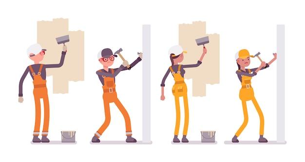 Conjunto de trabalhador masculino e feminino, trabalhando com paredes, brilhante geral