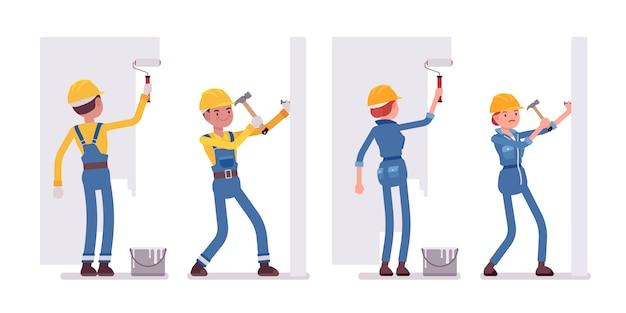 Conjunto de trabalhador masculino e feminino, trabalhando com paredes