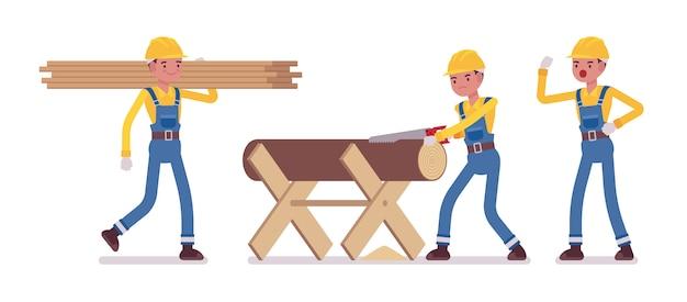 Conjunto de trabalhador masculino trabalhando com madeira e madeira cortada
