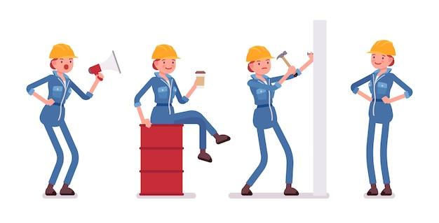 Conjunto de trabalhadora com ferramentas, situações diferentes