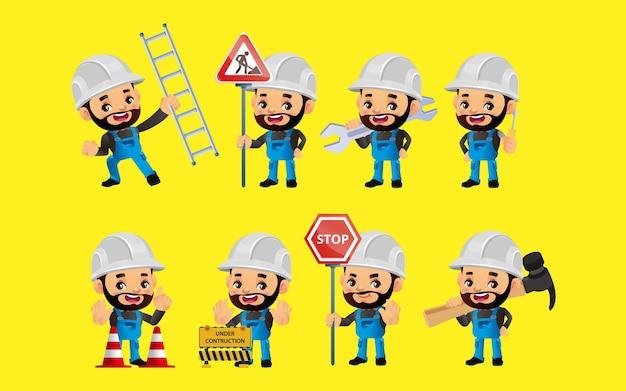 Conjunto de trabalhadores com diferentes poses