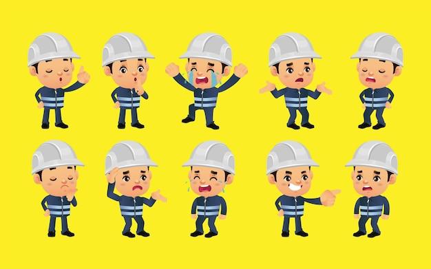 Conjunto de trabalhadores com emoções diferentes