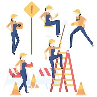 Conjunto de trabalhadores da construção civil feminino