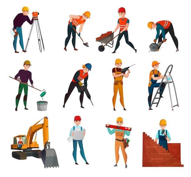 Conjunto de trabalhadores da construção civil