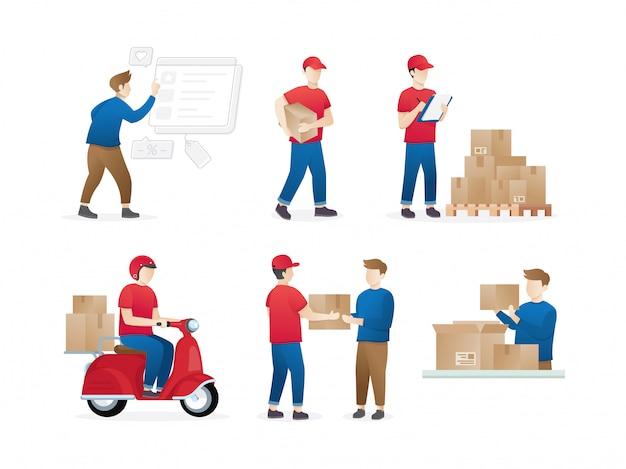 Conjunto de trabalhadores de entrega ou correio