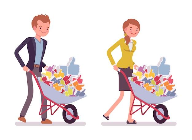 Conjunto de trabalhadores de escritório, empurrando um carrinho de mão com gostos