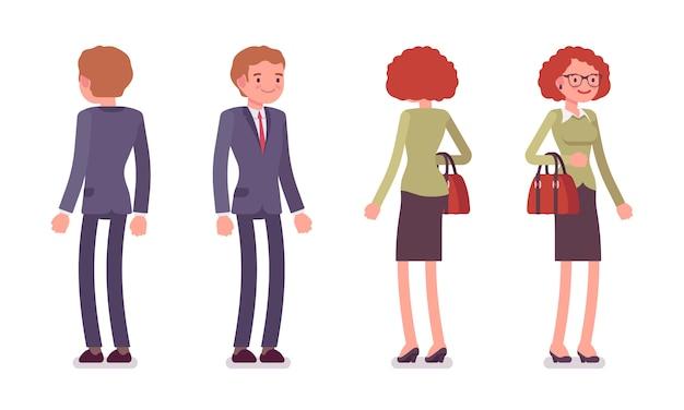 Conjunto de trabalhadores de escritório masculino e feminino em pé, traseira, frente