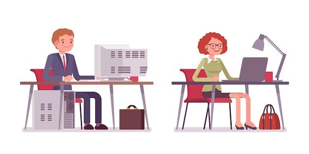 Conjunto de trabalhadores de escritório masculino e feminino, sentado no computador
