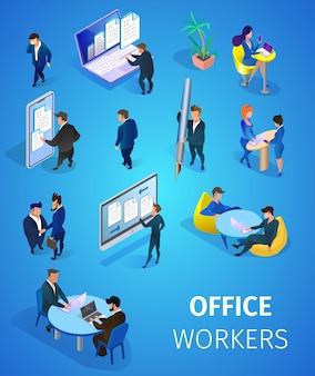Conjunto de trabalhadores de escritório