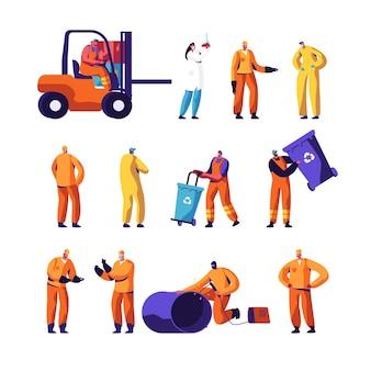 Conjunto de trabalhadores de fábrica de reciclagem de lixo e metalurgia.
