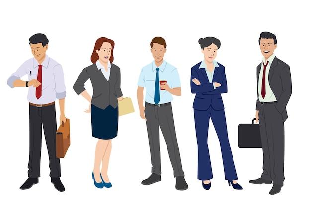 Conjunto de trabalhadores de negócios