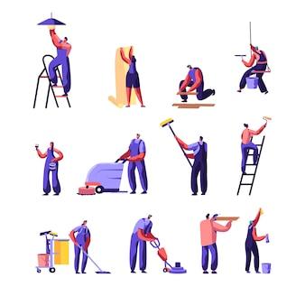 Conjunto de trabalhadores de serviço de limpeza e reparo.