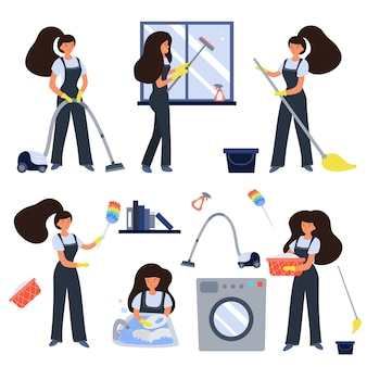 Conjunto de trabalhadores de serviço de limpeza
