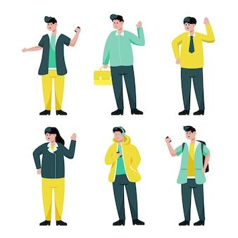 Conjunto de trabalhadores em ilustração de coleção de personagem de desenho animado, ilustração isolada
