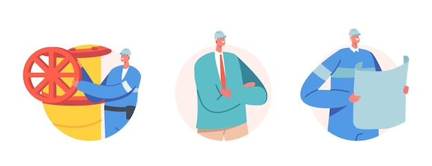 Conjunto de trabalhadores industriais em uniforme com plano de projeto perto de pipeline. personagens masculinos trabalham na indústria de extração de petróleo ou gás. ocupação dos engenheiros dos petroleiros. ilustração em vetor desenho animado pessoas, ícones