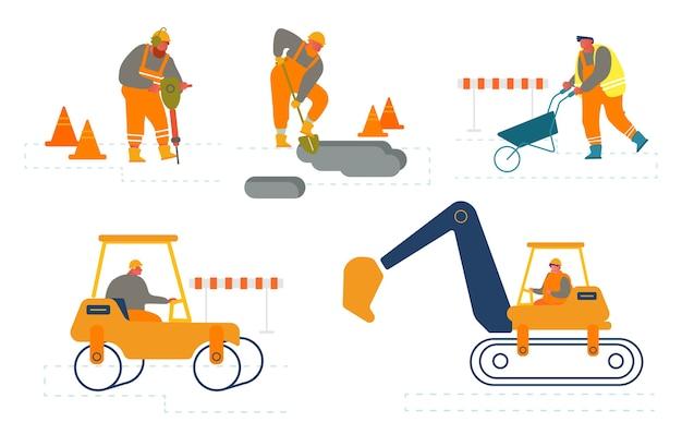 Conjunto de trabalhadores na construção de reparação de estradas.