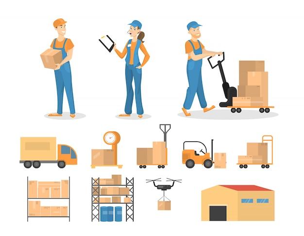 Conjunto de trabalho do carregador. homens e mulheres com encomendas.