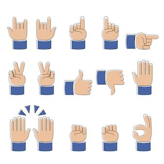 Conjunto de trabalho moderno linha de ícones de mãos e símbolos, emoji, ilustração vetorial