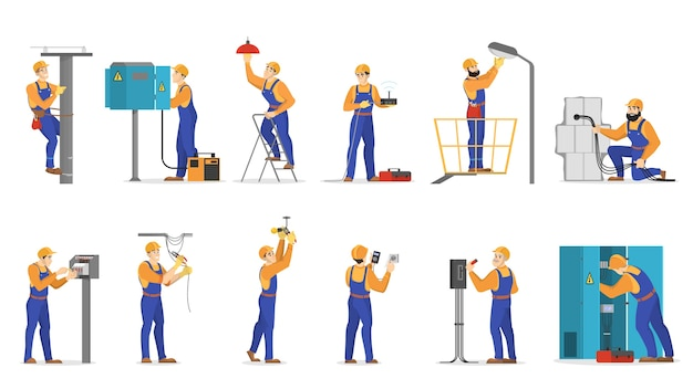 Conjunto de trabalhos de eletricidade. trabalhador profissional de uniforme