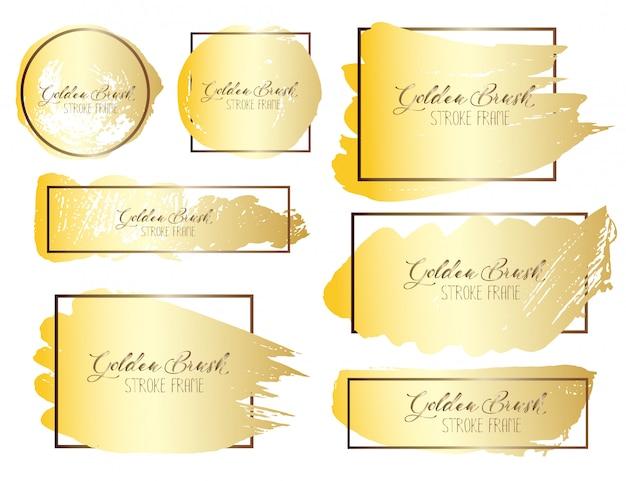 Conjunto de traçado de pincel, pinceladas de ouro grunge. ilustração vetorial