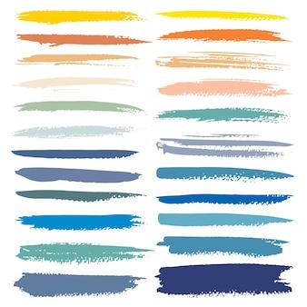 Conjunto de traçado de pincel, pinceladas de tinta colorida grunge.