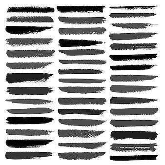 Conjunto de traçado de pincel, pinceladas de tinta preta grunge.