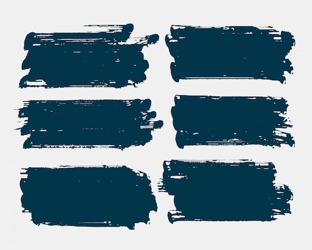 Conjunto de traçado de pincel retângulo sujo forma grunge