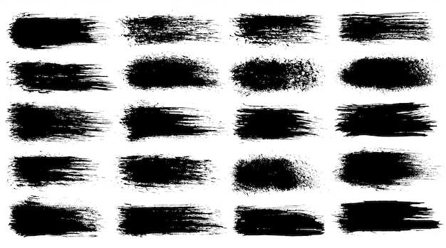 Conjunto de traçados de pincel artístico do grunge, escovas. coleção preta isolada no fundo branco