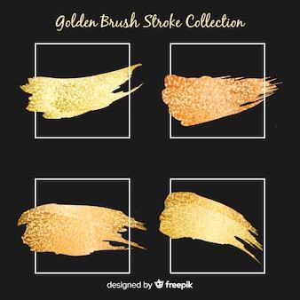 Conjunto de traçados de pincel dourado