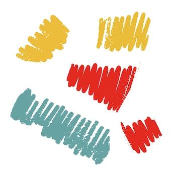 Conjunto de traços de giz de cera de vetor texturizado, textura de giz grunge, cor, coleção de incubação