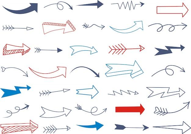 Conjunto de traços de sublinhado em várias formas de estilo doodle