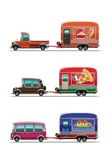 Conjunto de trailer food truck com churrasqueira bar-bq, loja de comida japonesa tokoyaki e pizza, desenho de ilustração plana de estilo em fundo branco