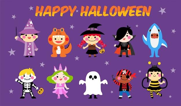 Conjunto de traje de criança de halloween