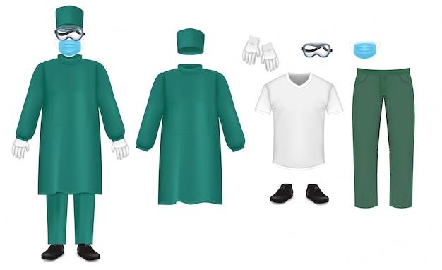 Conjunto de traje de proteção verde bacteriológico, ilustração isolada