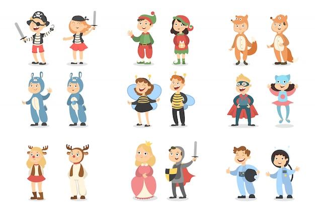 Conjunto de trajes de crianças. animais e insetos, super-heróis e piratas.