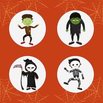 Conjunto de trajes de halloween de crianças
