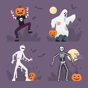 Conjunto de trajes de monstro de halloween em design plano, ilustração de personagem de halloween, fantasma, múmia, esqueleto