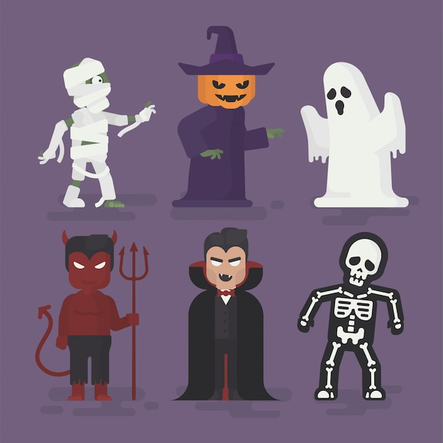 Conjunto de trajes de monstro de halloween em design plano, ilustração de personagem de halloween, fantasma, múmia, vampiro, diabo, esqueleto e abóbora