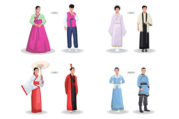 Conjunto de trajes tradicionais asiáticos. quimonos femininos antigos, roupas masculinas, roupas nacionais japonesas, chinesas, vietnamitas e coreanas