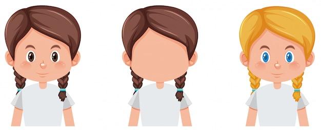 Conjunto de tranças cabelo personagem cor diferente