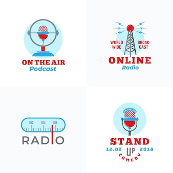 Conjunto de transmissão de rádio e modelos de logotipo de microfones