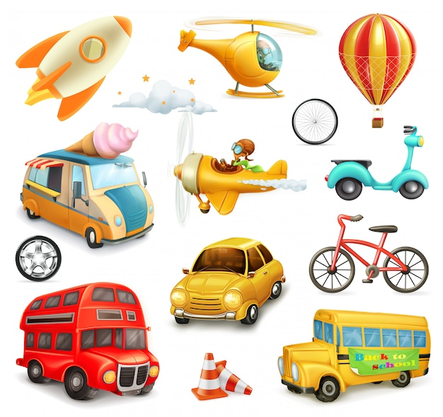 Conjunto de transporte, carros e aviões de desenho animado
