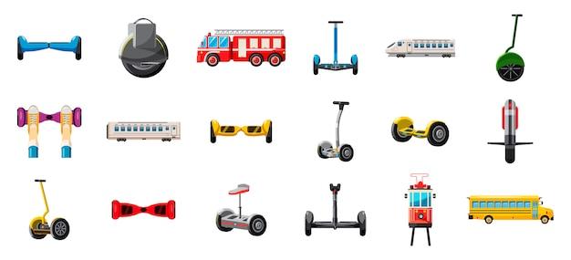 Conjunto de transporte da cidade. conjunto de desenhos animados de transporte da cidade