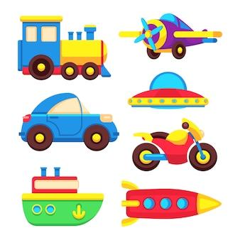 Conjunto de transporte de brinquedo de bebê colorido isolado