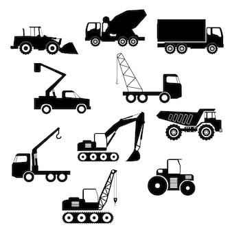 Conjunto de transporte de construção de vetor de caminhão de construção